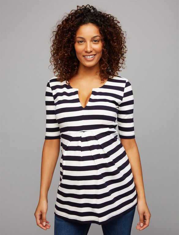 Isabella Oliver Ponte Stripe Maternity Top, Navy/White Stripe