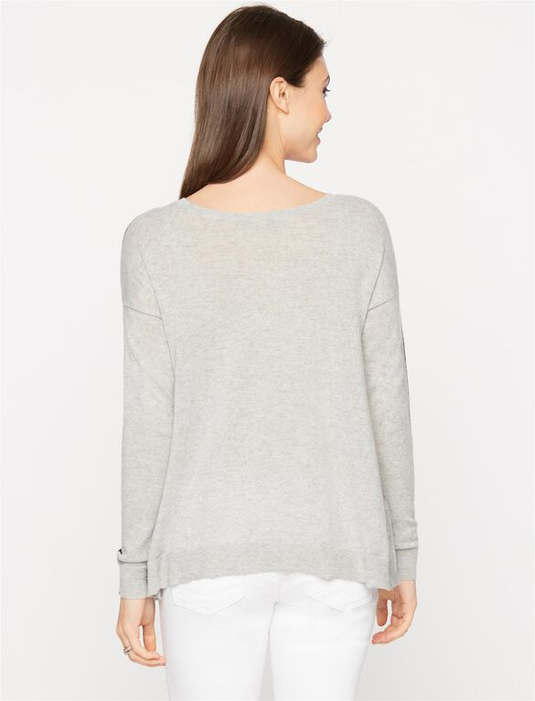 Autumn Cashmere Reversible Maternity Sweater, Black/Fog