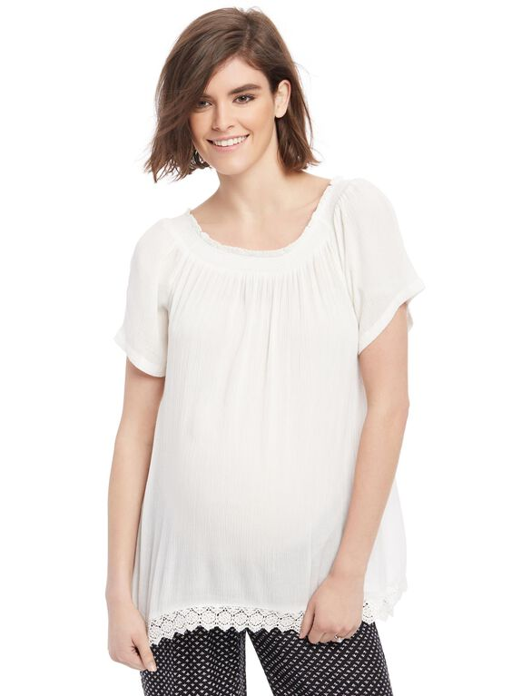 Crochet Trim Off The Shoulder Maternity Top, White