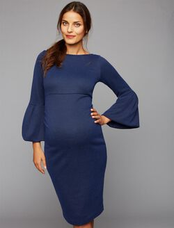 Soon Myra Ruffle Maternity Dress, Navy