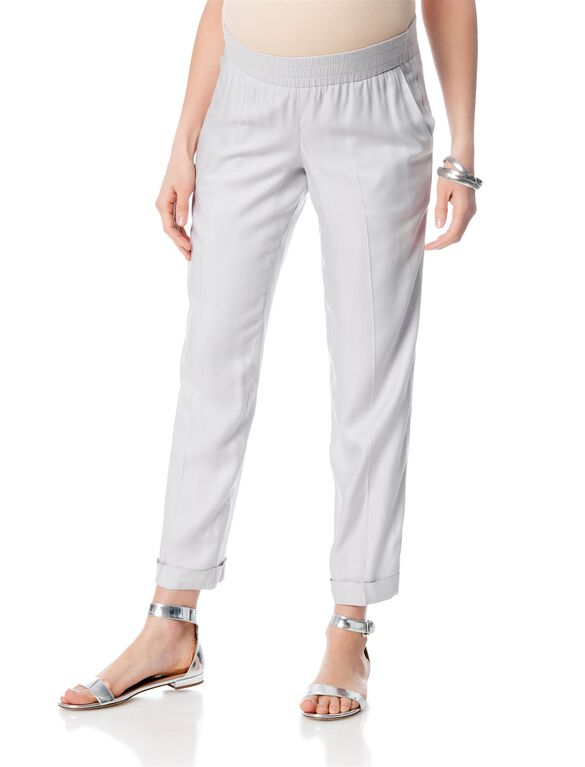 Isabella Oliver Pull On Straight Leg Maternity Pants, Haze Grey