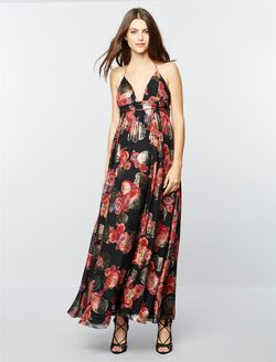 Free People Shadows Printed Maternity Gown, Black Print