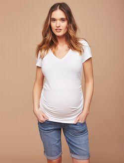 Secret Fit Belly Cuffed Maternity Bermuda Shorts, Medium Wash