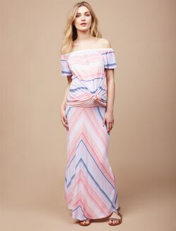 Fold Over Belly Maternity Maxi Skirt- Multi Chevron, Multi Chevron