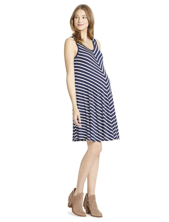 Jessica Simpson Sleeveless Striped Maternity Dress, Navy
