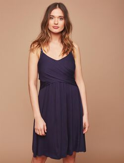 Twist Front Clip Down Nursing Nightgown- Solid, Navy