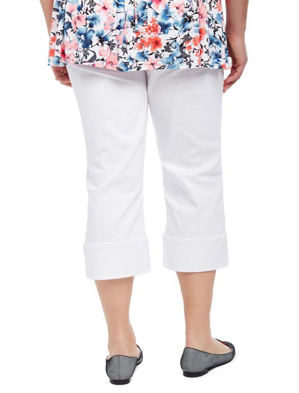 Plus Size Secret Fit Belly Skinny Leg Maternity Crop Pants, White