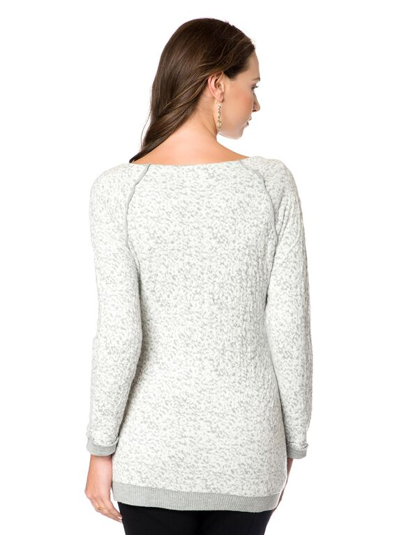 Raglan Sleeve Maternity Sweater, Grey/Ivory