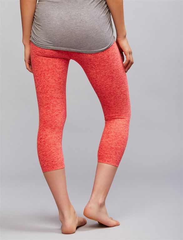 Beyond The Bump Fold Over Belly Super Soft Maternity Active Crop Pants, Sunset Rose