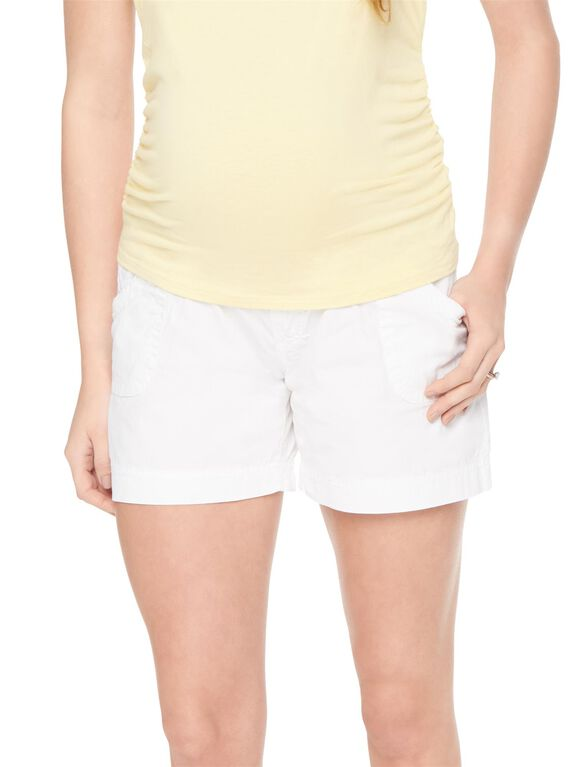 Secret Fit Belly Cargo Maternity Shorts, White