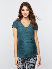 Beyond The Bump Maternity Tee- Teal Spacedye, Black/Teal