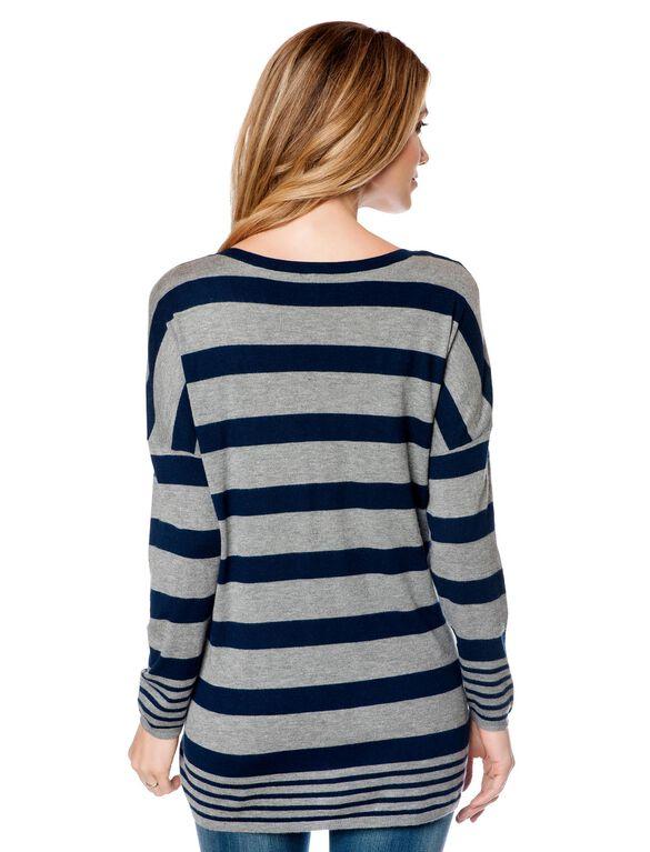Maternity Sweater, Grey/Navy Stripe