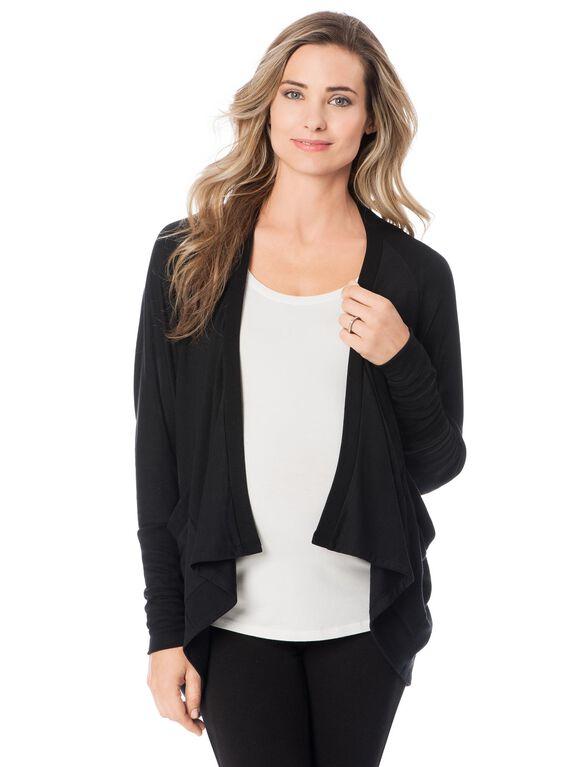 Long Sleeve Cascade Maternity Cardigan- Black, Black
