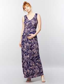 Sleeveless Ruched Waist Maternity Maxi Dress- Navy Floral, Navy Floral Print