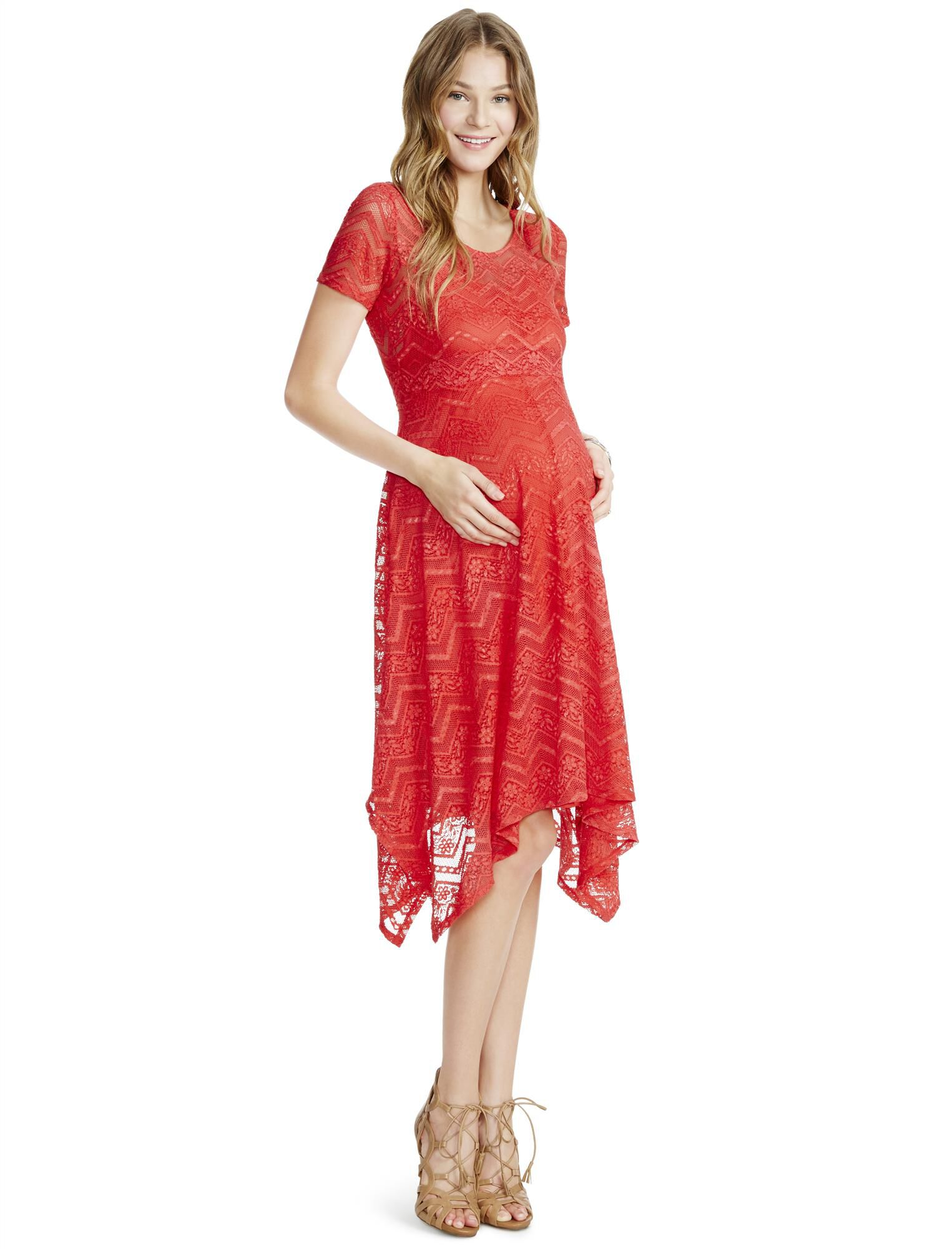 Vintage Style Maternity Clothes Jessica Simpson Lace Hanky Hem Maternity Dress- Coral $34.97 AT vintagedancer.com