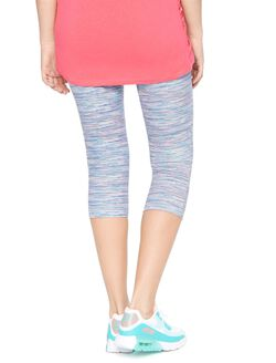Foldover Belly Spacedye Maternity Crop Leggings, Multi Space Dye