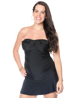 Ruffle Front Maternity Tankini Top, Black