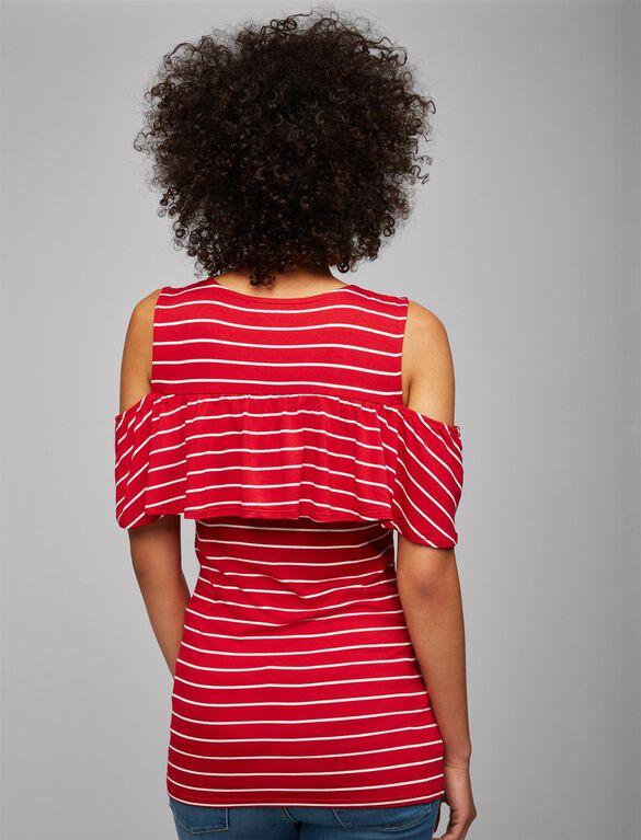 Envie De Fraise Ruffled Cold Shoulder Maternity Top- Stripe, Red/White Stripe