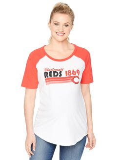 Mlb Elbow Sleeve Maternity Graphic Tee, Reds