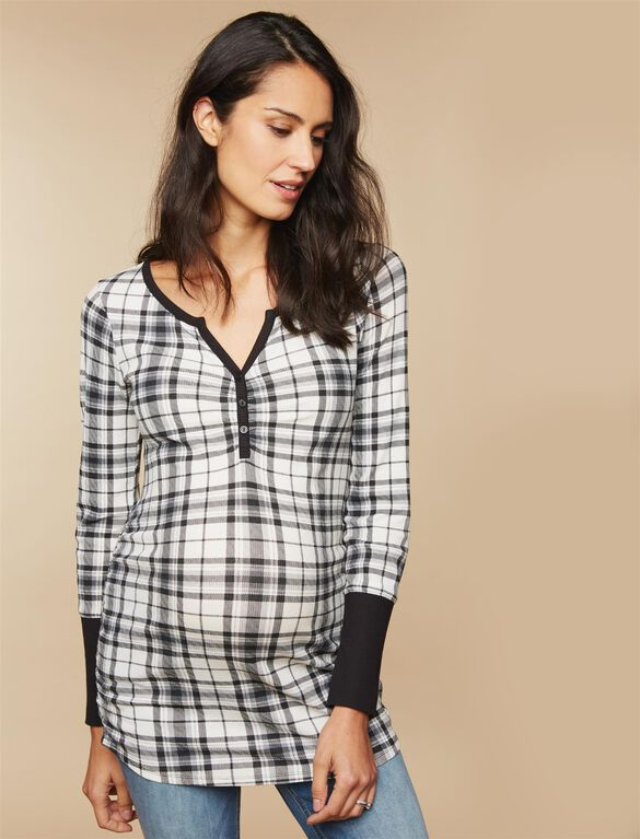 Ruched Maternity T Shirt, White Plaid