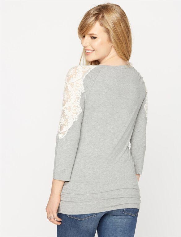 Lace Shoulder Maternity Tee, Heather Grey