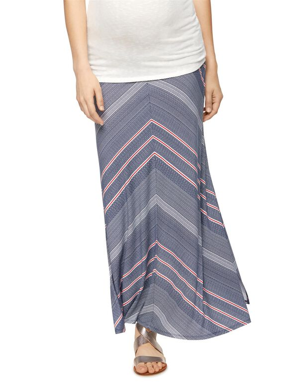 Self Belly Maternity Maxi Skirt, Multi Stripe