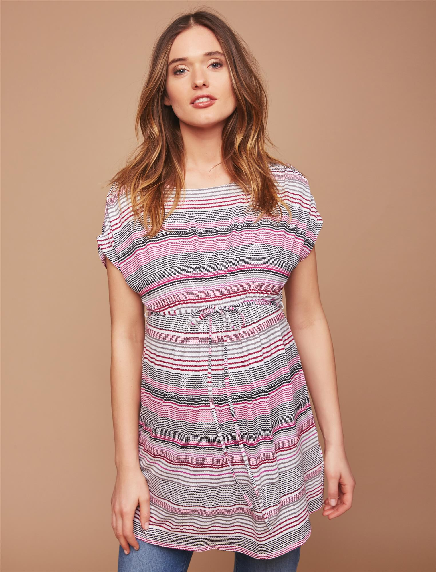 Shirred Waist Maternity Tunic- Stripe
