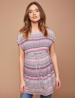 Shirred Waist Maternity Tunic- Stripe, Varigated Stripe