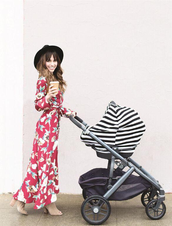 Itzy Ritzy Mom Boss 4-in-1 Multi-Use Cover, Black/White Stripe