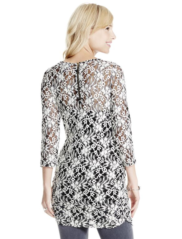 Jessica Simpson Floral Patterned Lace Maternity Top, Black/Cream