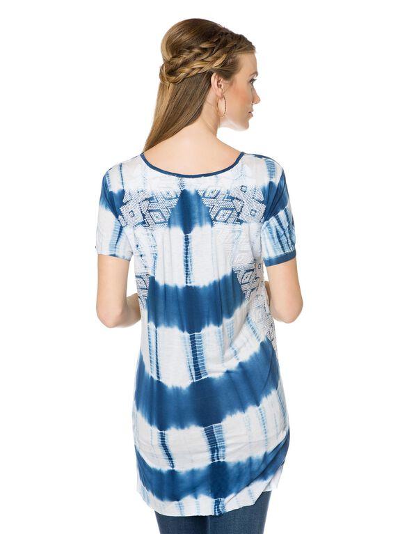 Tye Dye Maternity T Shirt, Blue/White