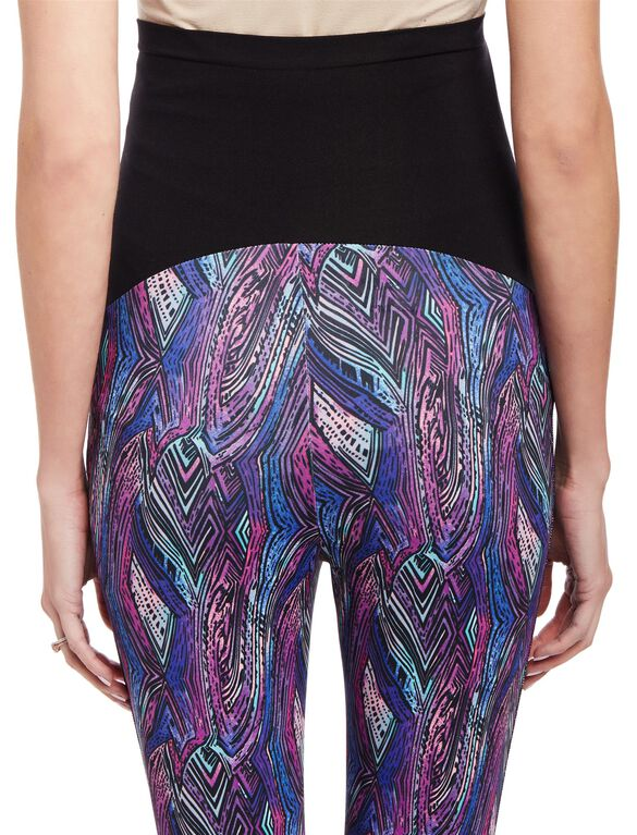 Secret Fit Belly Performance Mesh Maternity Crop Leggings, Multi Stripe
