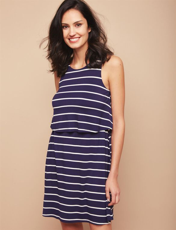 Lift Up Tiered Nursing Dress, Navy/White Stripe