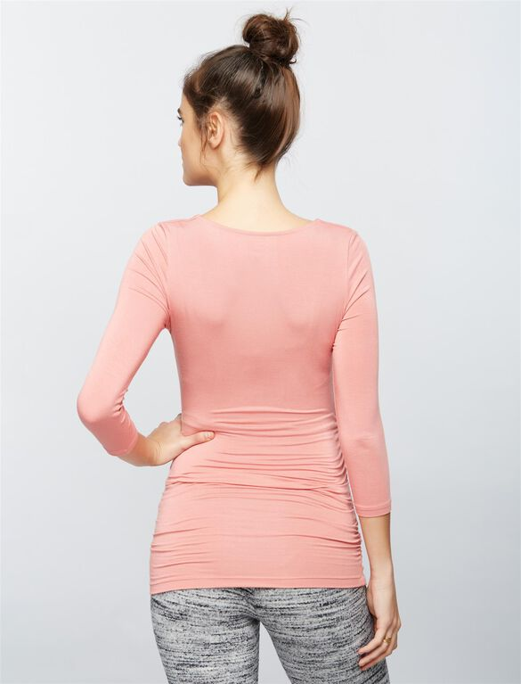 Scoop Neck Side Ruched Knit Maternity Tee, Sunset Rose