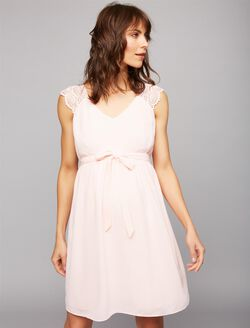 Lace Shoulder Maternity Dress- Pink, Pink
