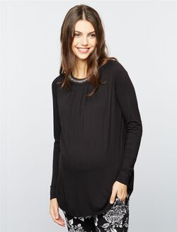 Keyhole Detail Maternity Top, Black