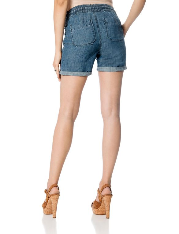 Pull On Style Front Pocket Maternity Shorts, Chambray