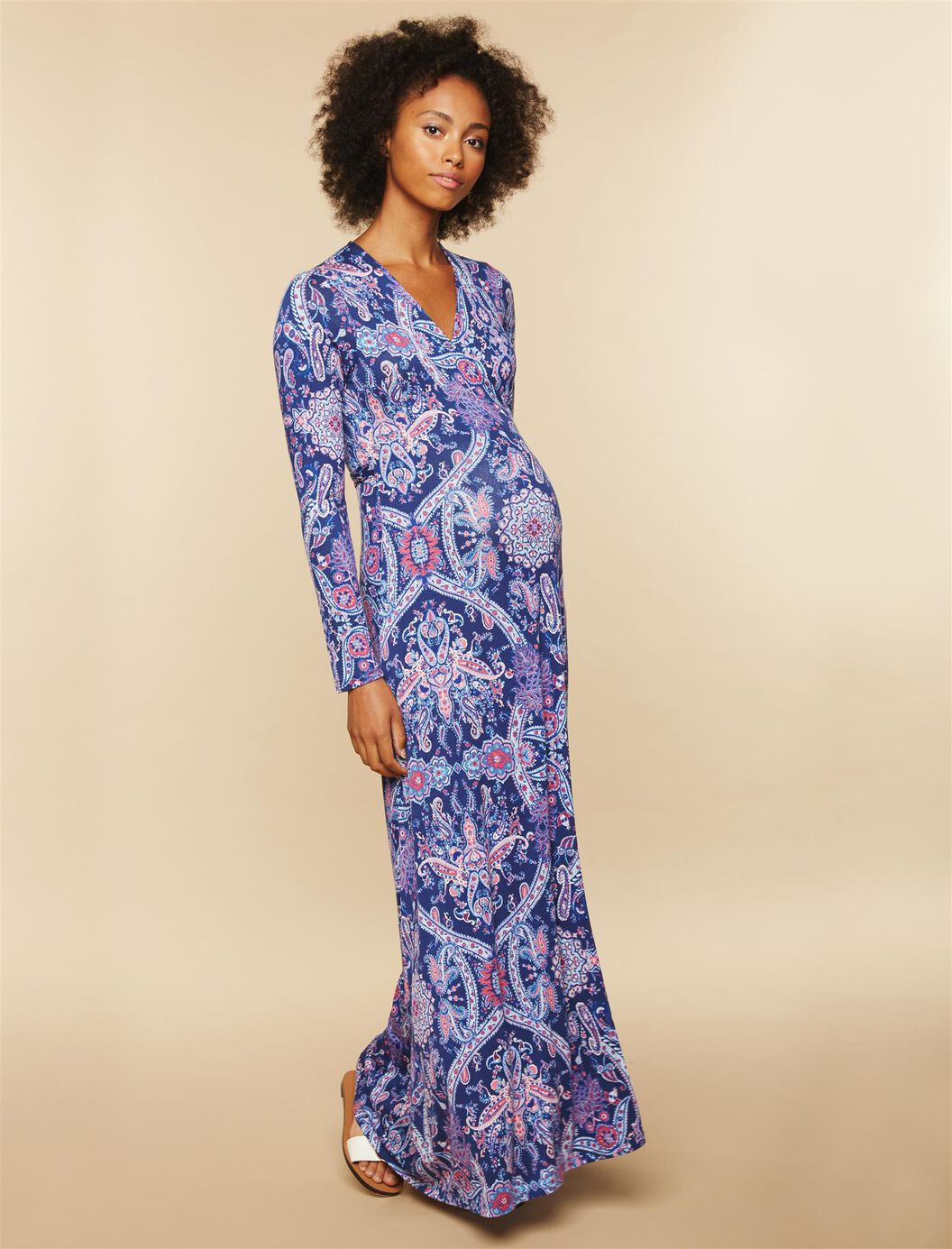 Printed Wrap Maternity Maxi Dress at Motherhood Maternity in Victor, NY | Tuggl
