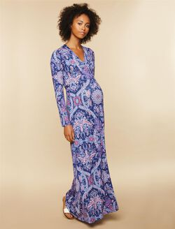 Printed Wrap Maternity Maxi Dress, Navy Print