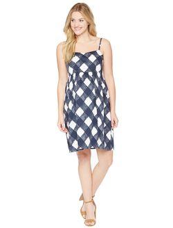 Empire Waist Maternity Dress, Navy/White Gingham