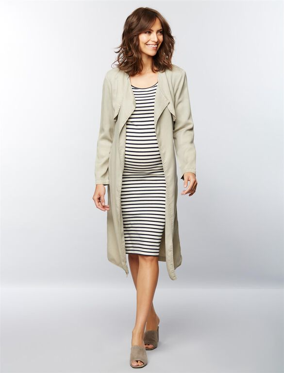 Monrow Long Maternity Trench Coat, Olive