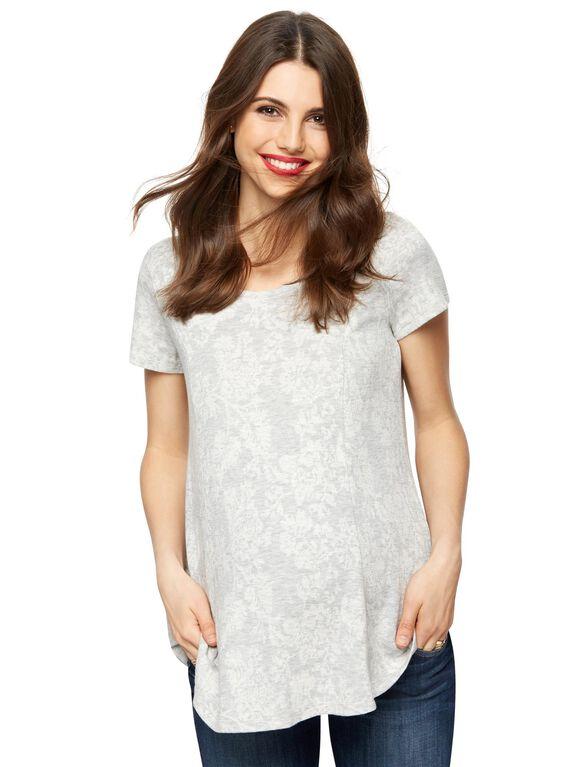 Raglan Sleeve Maternity Tunic, Grey/White Floral