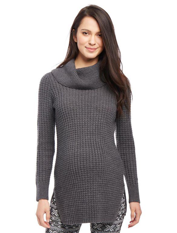Super Soft Maternity Sweater Tunic, Charcoal