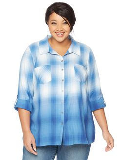 Wendy Bellissimo Plus Size Back Interest Maternity Top, Dip Dye Navy