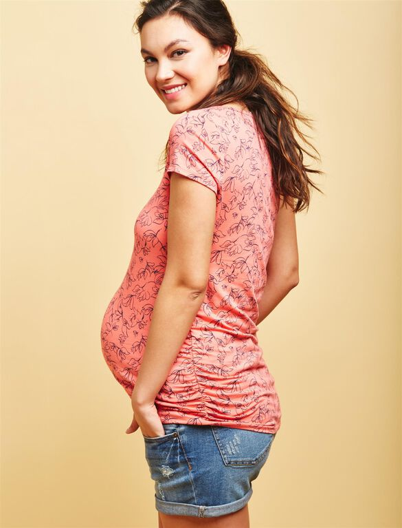 Side Ruched Maternity Tee- Coral Floral, Coral Floral