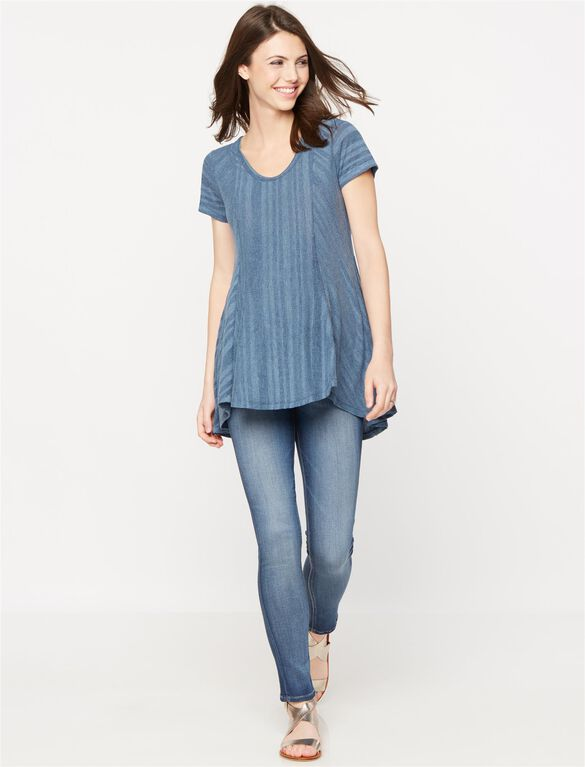 Luxe Essentials Denim Swing Maternity Tunic, Dusty Denim