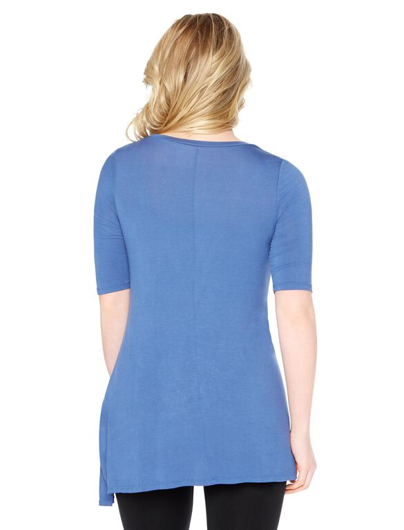 Elbow Sleeve Maternity Tunic- Solid, Dutch Blue