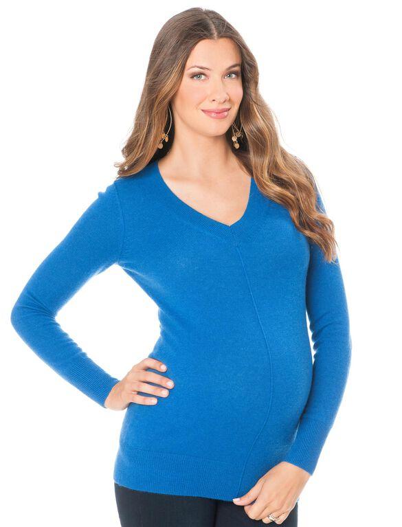 Long Sleeve V-neck Cashmere Maternity Sweater, Blue