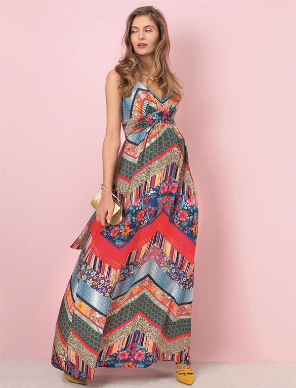 Pietro Brunelli Murano Maternity Maxi Dress, Patch Print