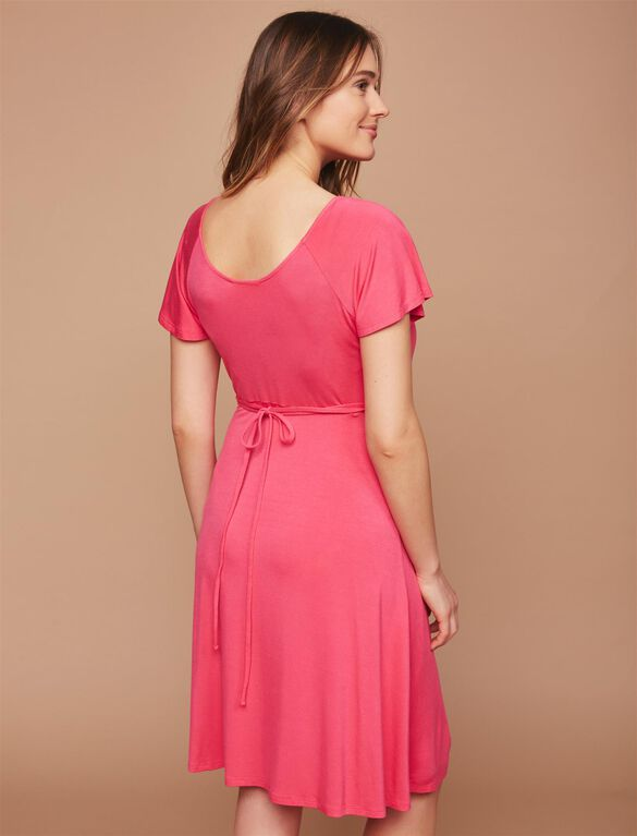 Web Only Ruched Maternity Dress, Raspberry